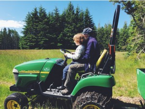 Children on tractor with Cynthia Bourgeault