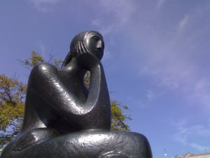 Woman thinking sculpture