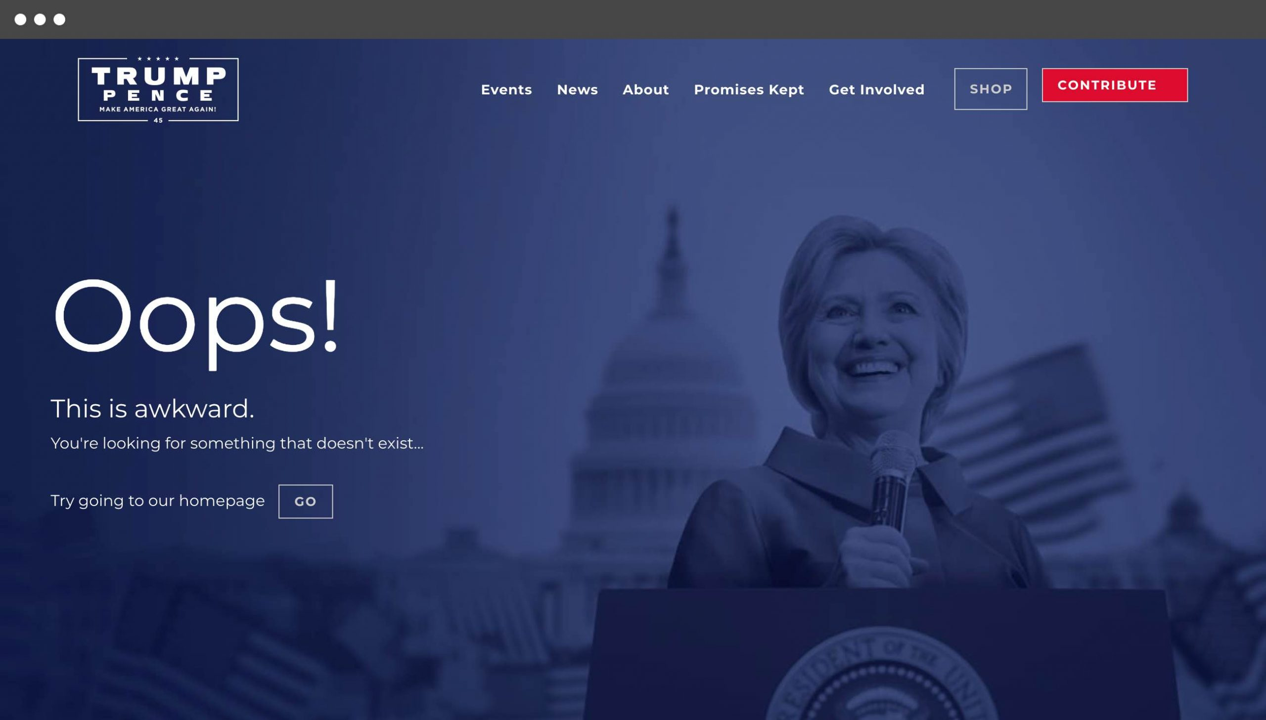 Donald Trump 404 page