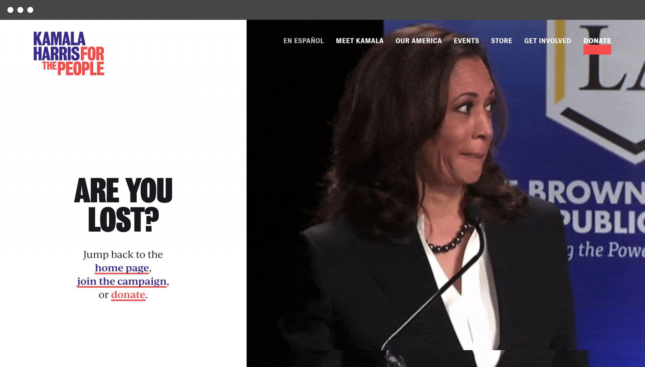 Kamala Harris 404 page