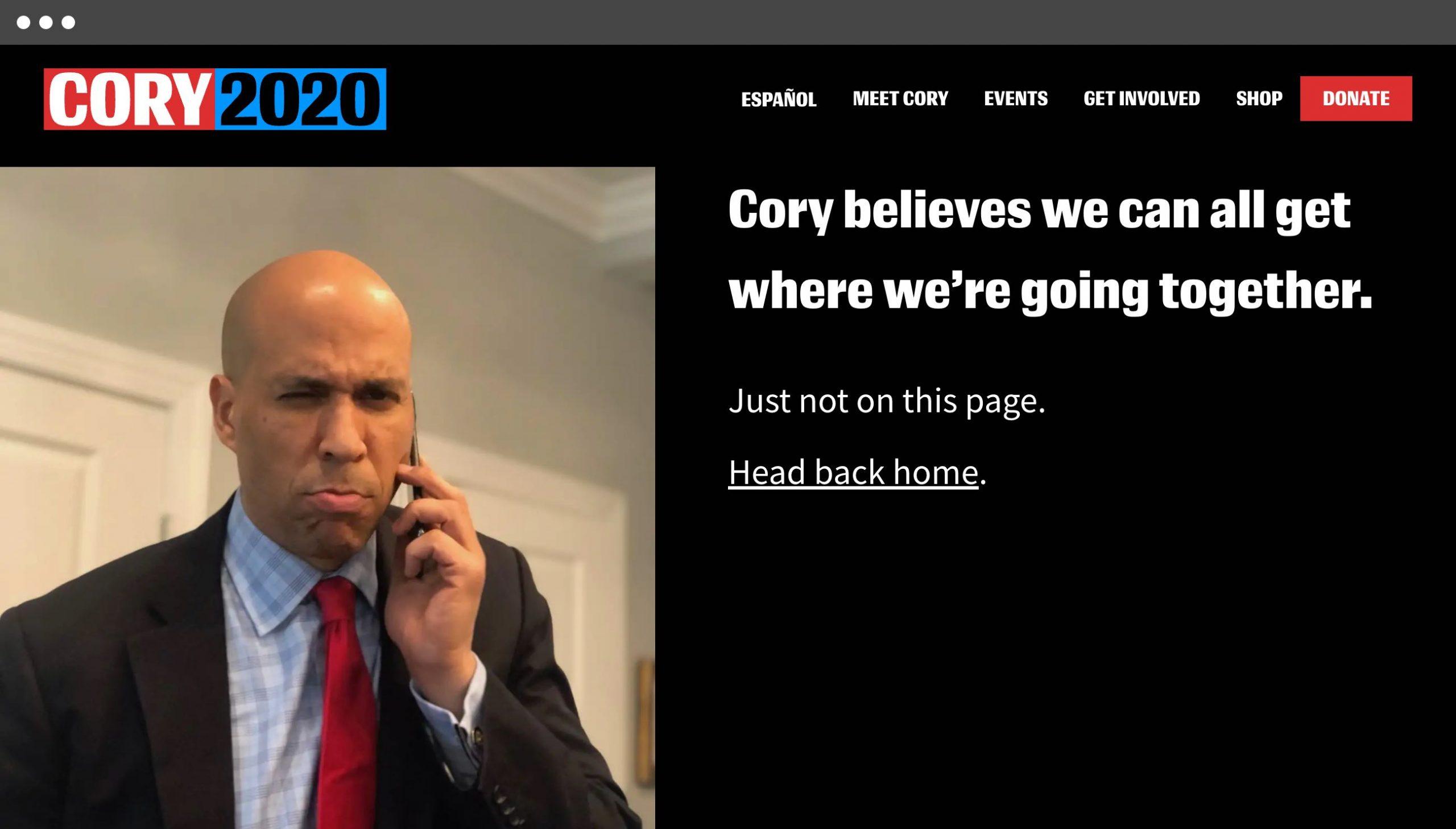 Cory Booker 404 page