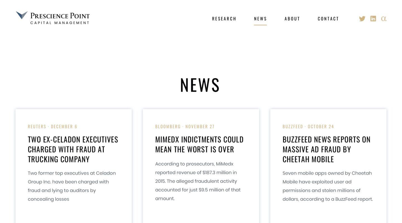 Prescience Point website