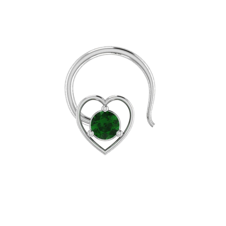 14kt gold green emerald wedding nose lip labret