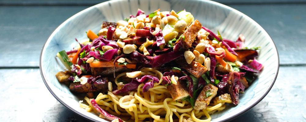 Noodle Salad with Baked Tofu | NoshOnIt