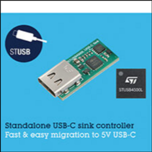 STMicro Introduces Standalone VBUS-Powered Controller for 5V USB-C Charging