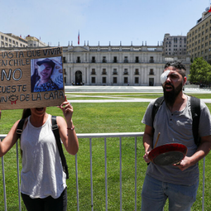 Chileans who lost eyes in protests demonstrate in capital