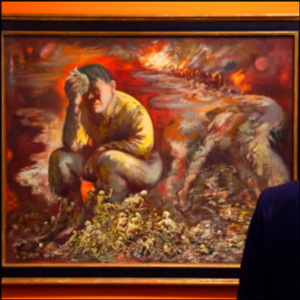 Painting showing Hitler as Cain displayed in Berlin museum