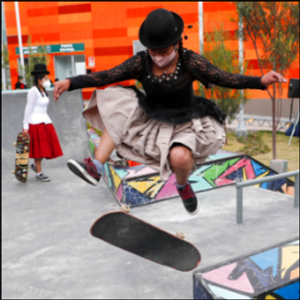 Bolivian women skateboard in Aymara garb to showcase culture