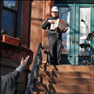 Stoop show: Brooklyn accordionist entertains neighbors