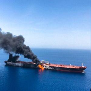 Tankers struck near Strait of Hormuz; US blames Iran