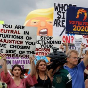 Trump protesters rally at gay bar blocks from arena speech