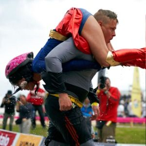 Lithuanian couple crowned 'wife carrying' world champions