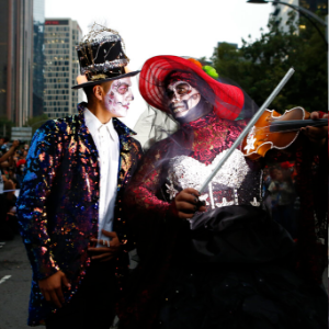 Mexicans parade as fancy skeletons ahead of Day of the Dead