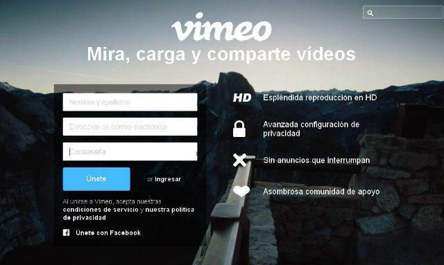 página de vimeo