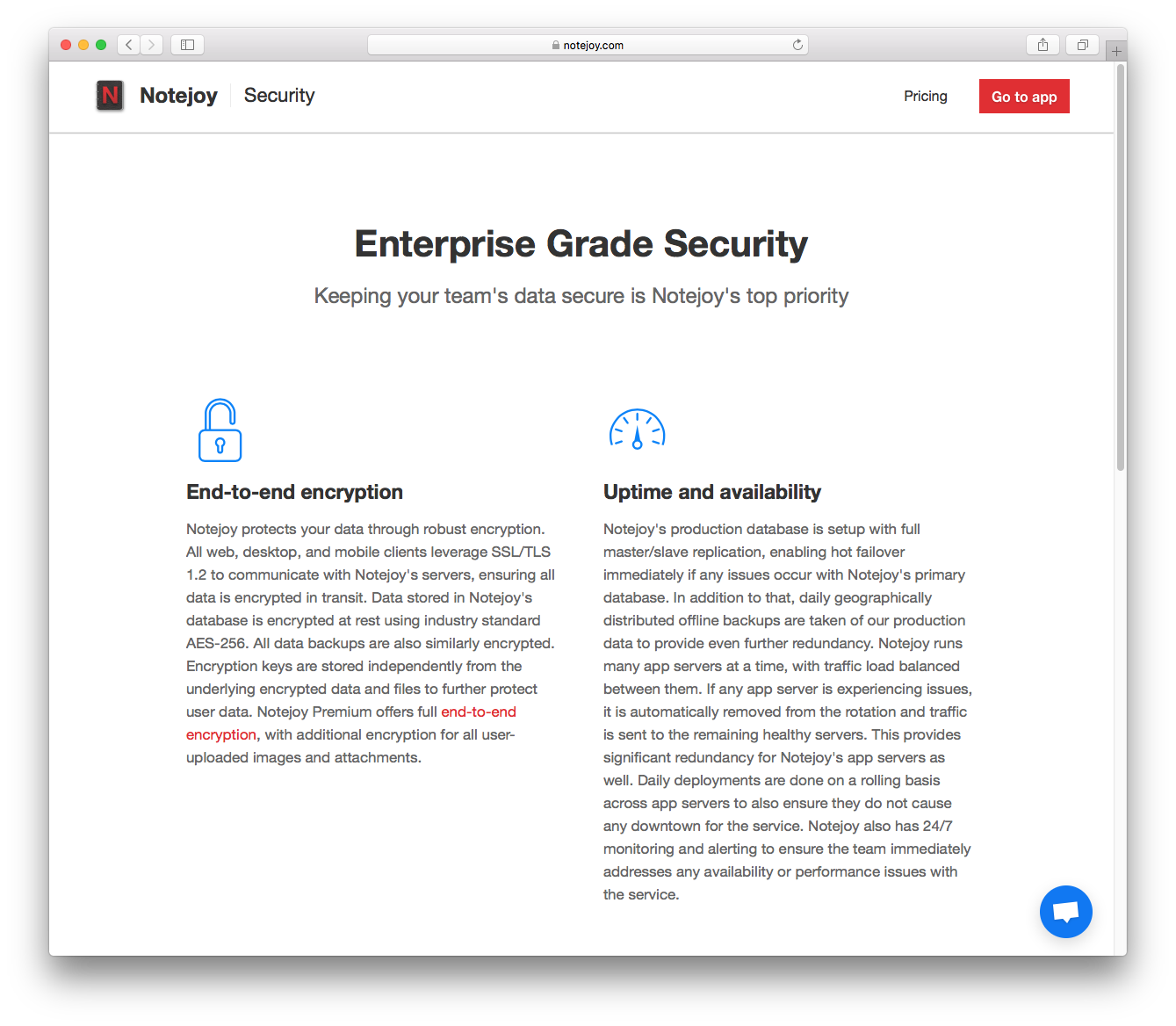 Security Page Notejoy Data Best Practices We Added A To Help Communicate All The That Leverage Keep Your Teams Safe On