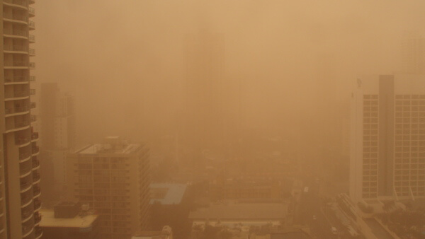 gigantesca tormenta de polvo vuelve el cielo naranja