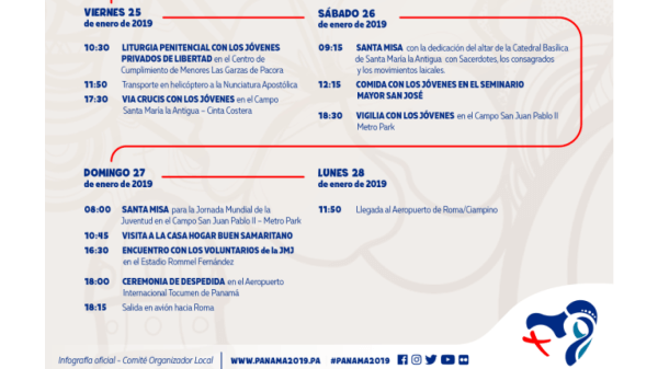 Cronograma de la JMJ 2019 en Panamá