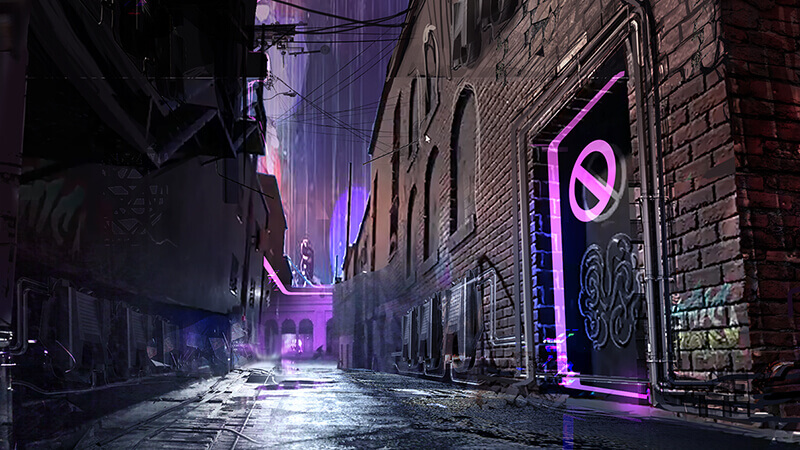 Virtual reality alleyway render