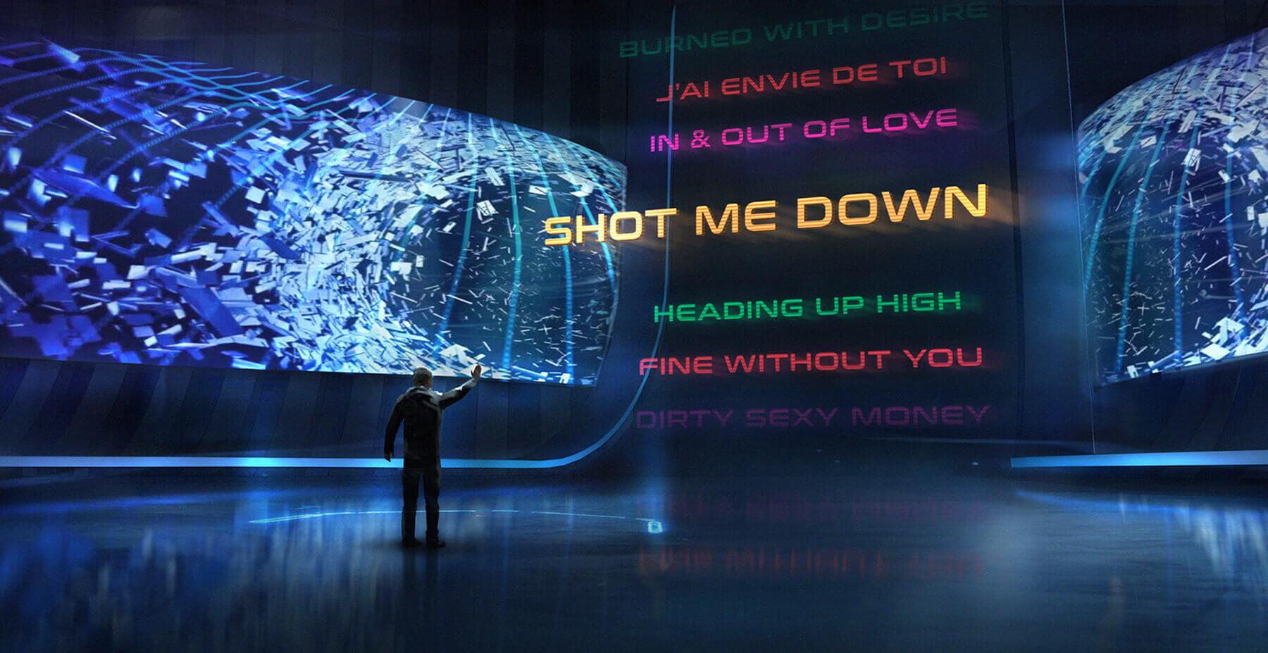 Virtual reality lobby song select