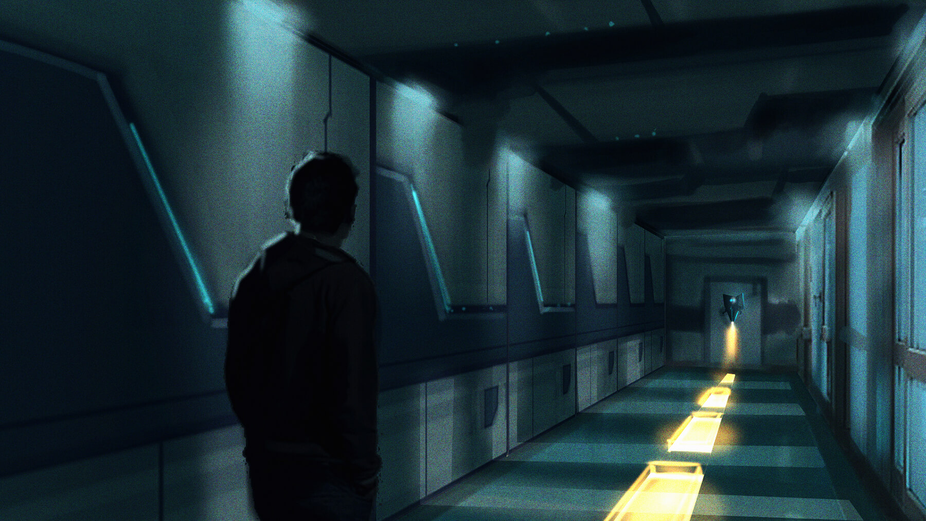 Virtual reality long hallway colored