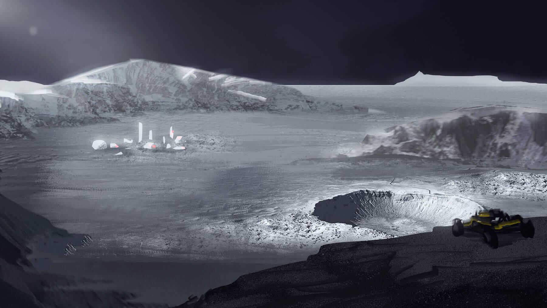 Virtual reality moon cliff overlook