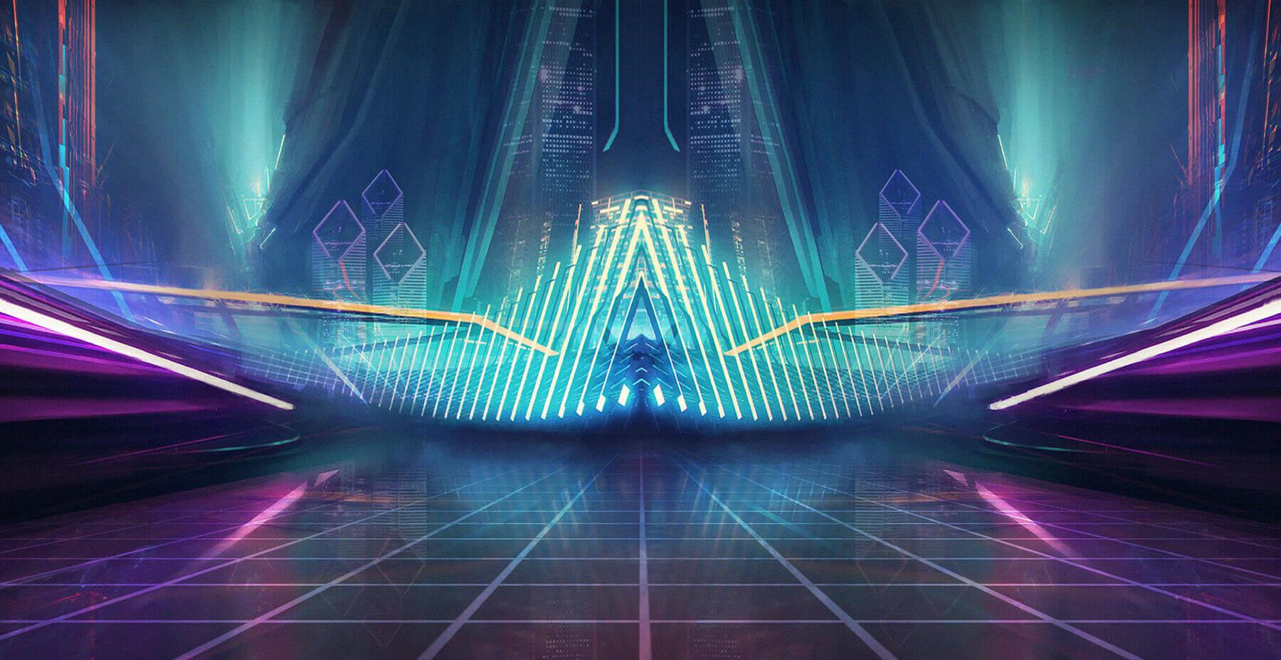 Virtual reality neon backdrop