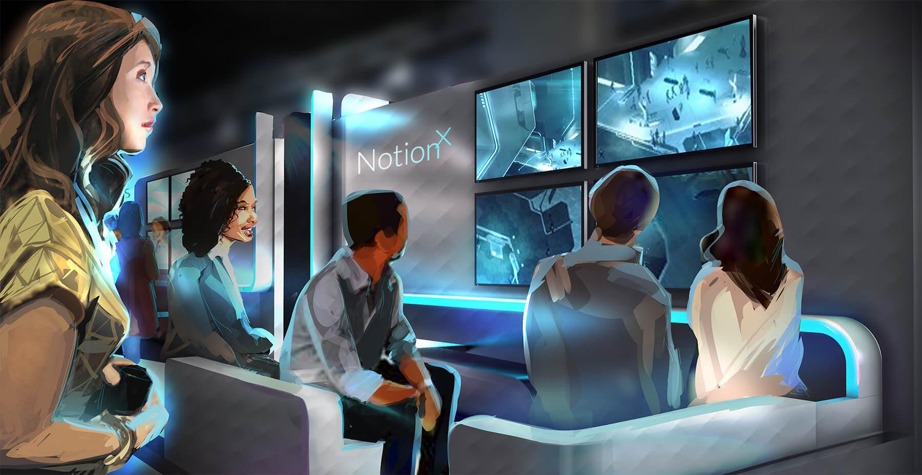 Virtual reality notionx arcade concept
