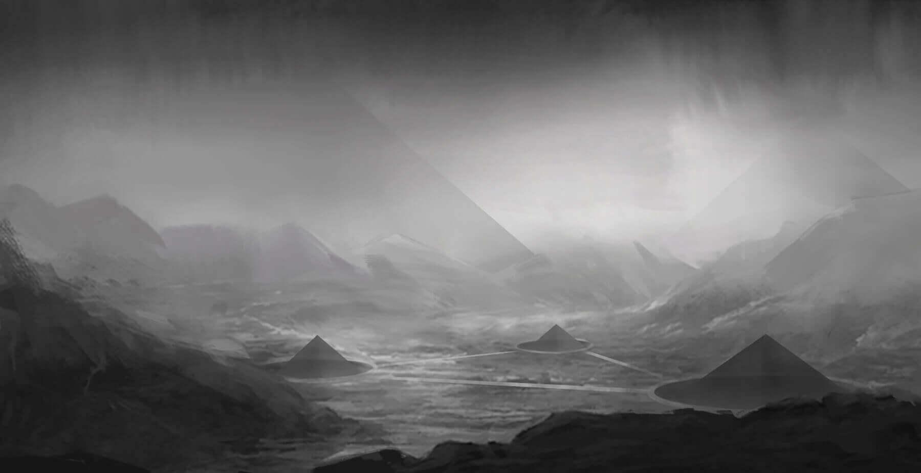 Virtual reality planet landscape sketch