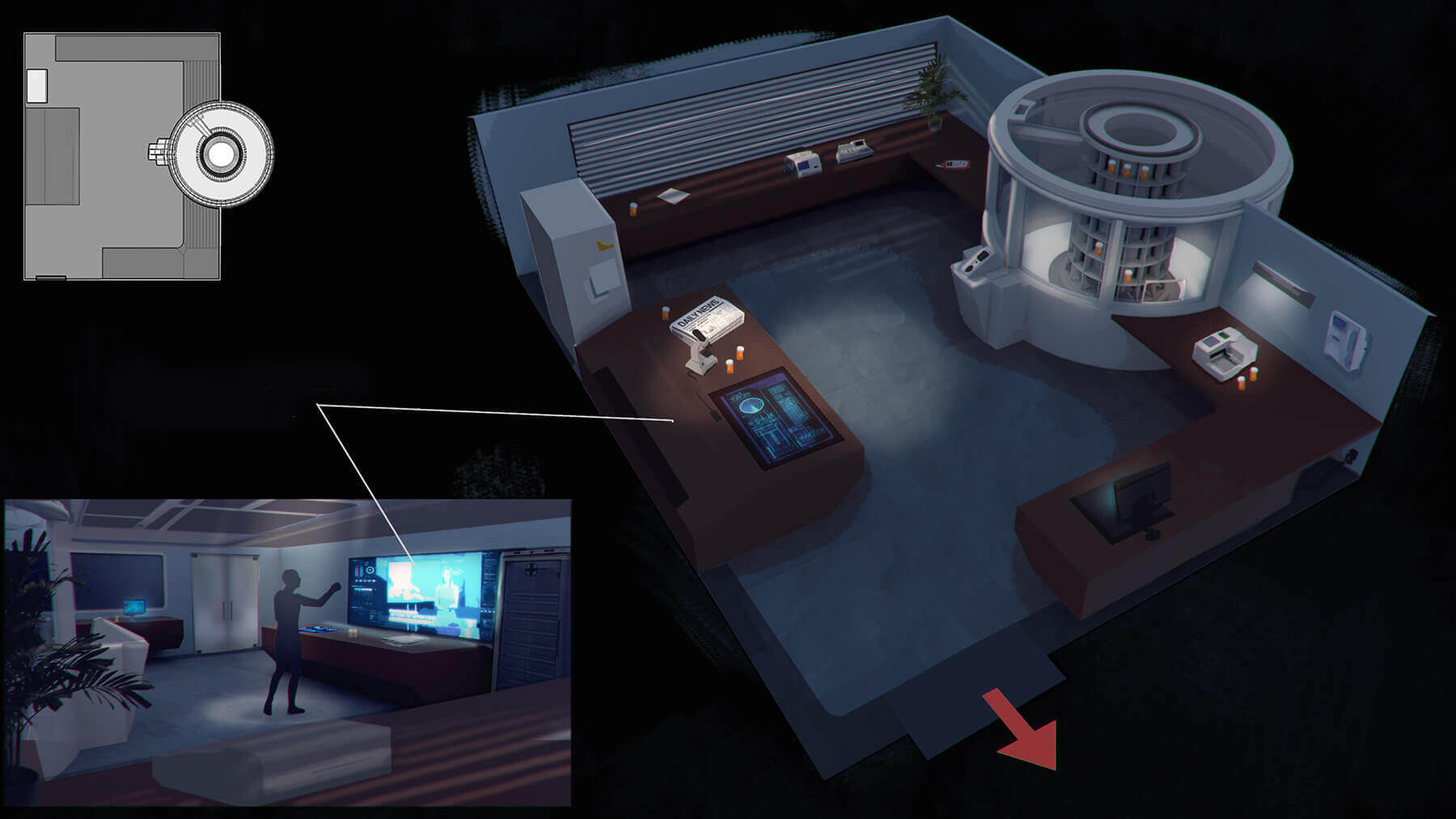 Virtual reality room exploration