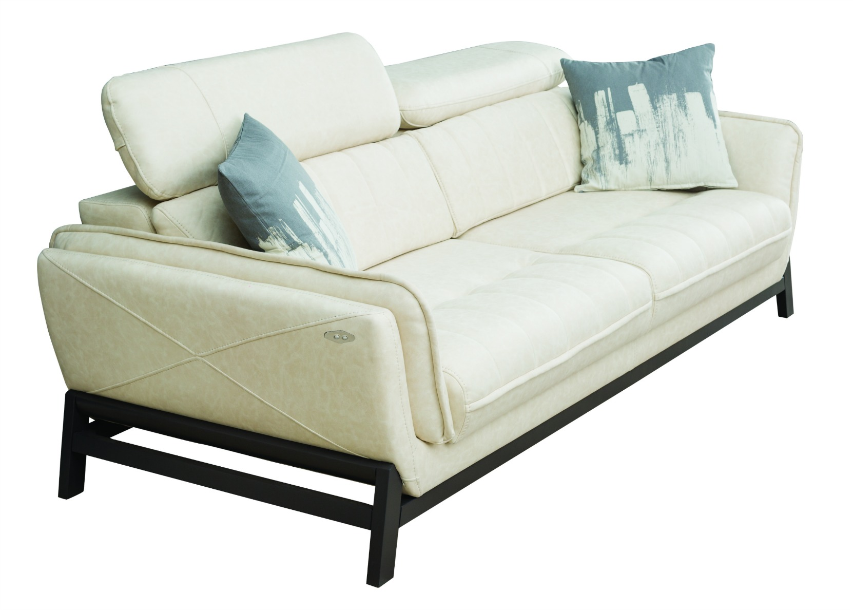 relax sofa with motorized sliding seat in white not just brown. Black Bedroom Furniture Sets. Home Design Ideas