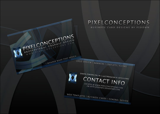Business Card Design: FSDown - PixelConceptions Business Card