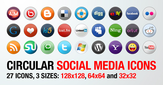 27 Circular Social Media Icons in 3 Sizes