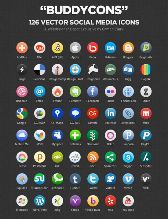 Buddycons – Vector Social Media Icons