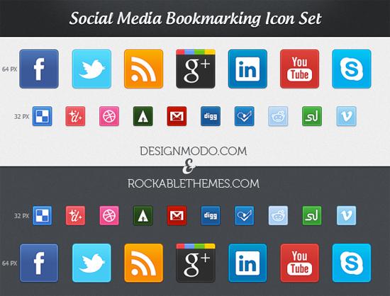 Free Social Media Bookmarking Icon Set