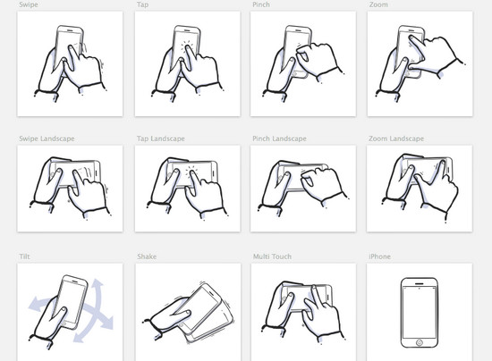 gestures icons in sketch