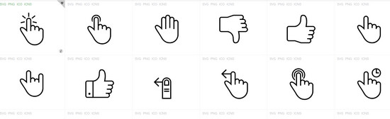 iconset of gestures