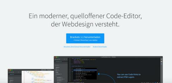 The Brackets HTML editor for Mac OS X