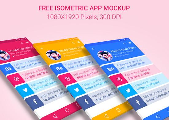 isometric app mockup