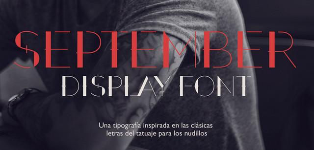 september - display font
