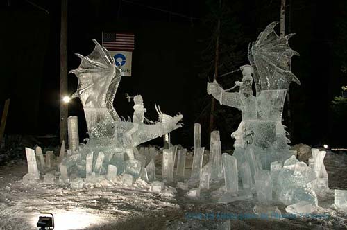 two dragon riders Ice Sculptures