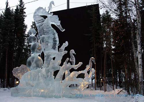seahorses made from ice