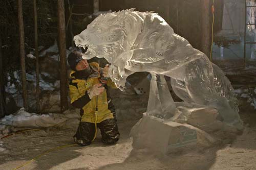 wolf in Ice Sculpture