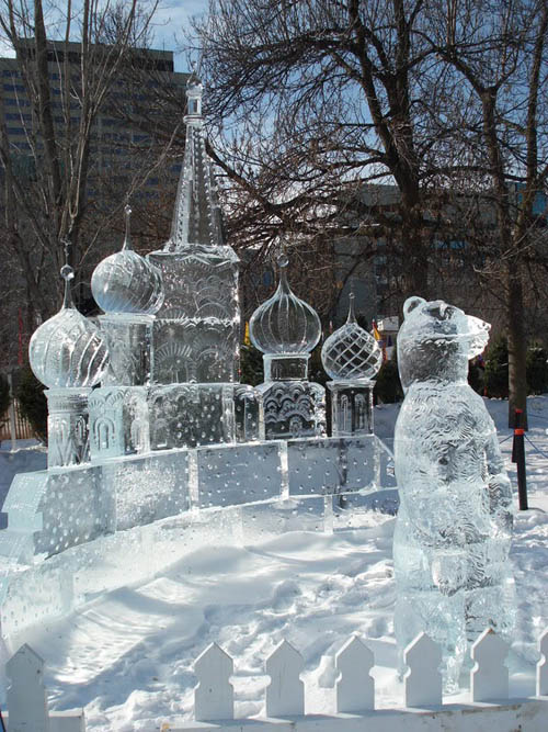 ice sculpture of Russian landmarks