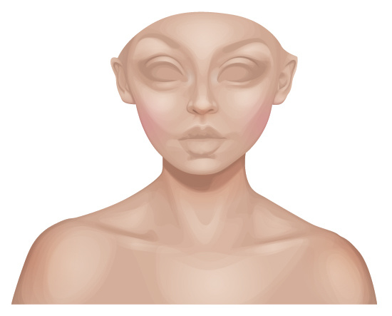 Due to the gradients the face looks almost porcelain.
