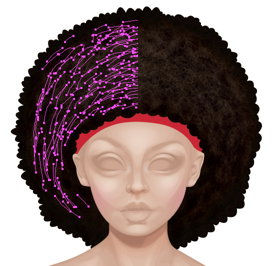 Wide light dashed strokes are added to give the afro texture.
