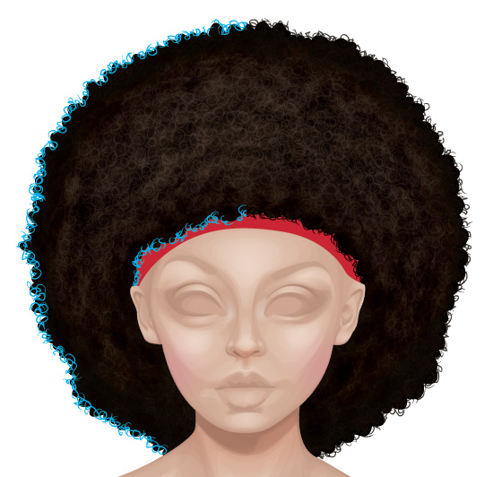 Drawing strokes around the outside of the afro.