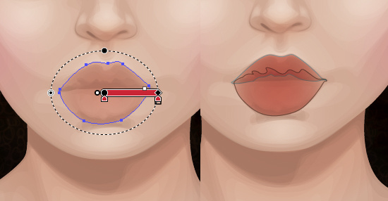 Gradients are used to add depth to the lips.