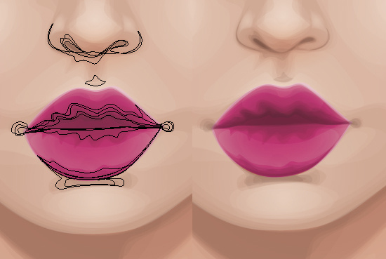 Balancing the shadow in the lips and the nose area.