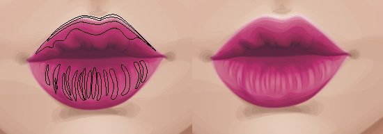 Using gradients to highlight the lips and creases.