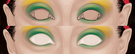 Adding white shapes for the eyeballs.